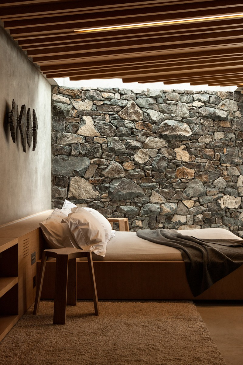 Stone wall in a modern beachside cottage