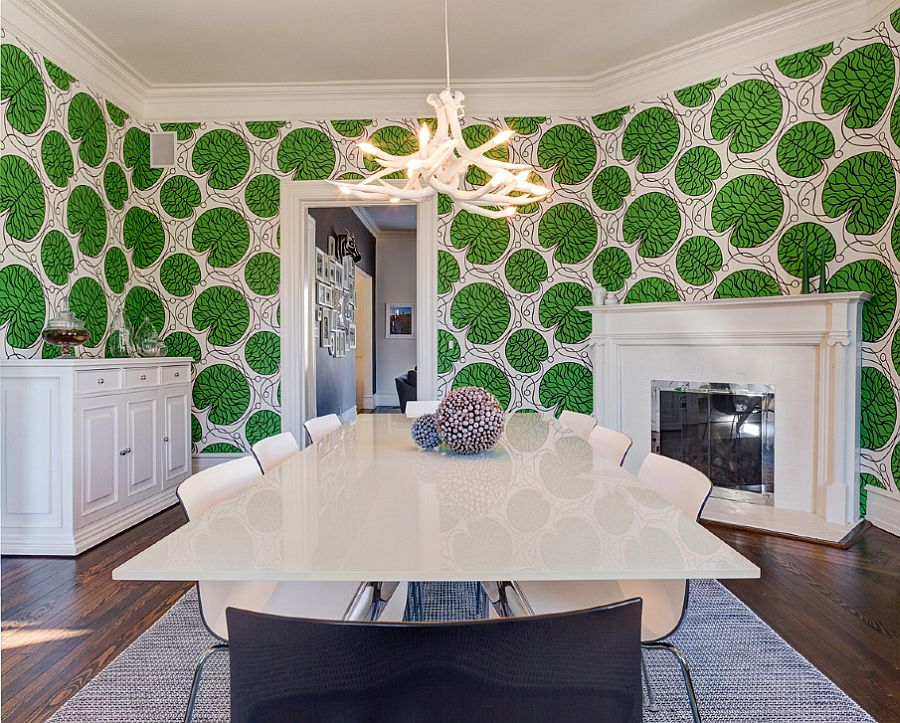 Stunning and unique dining room with a wallpaper that steals the spotlight