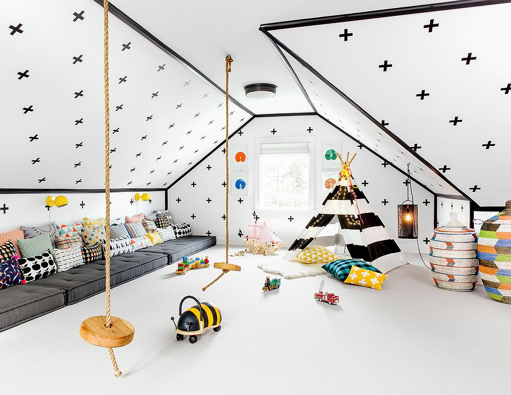 Stunning attic playroom in black and white leaves you awestruck!