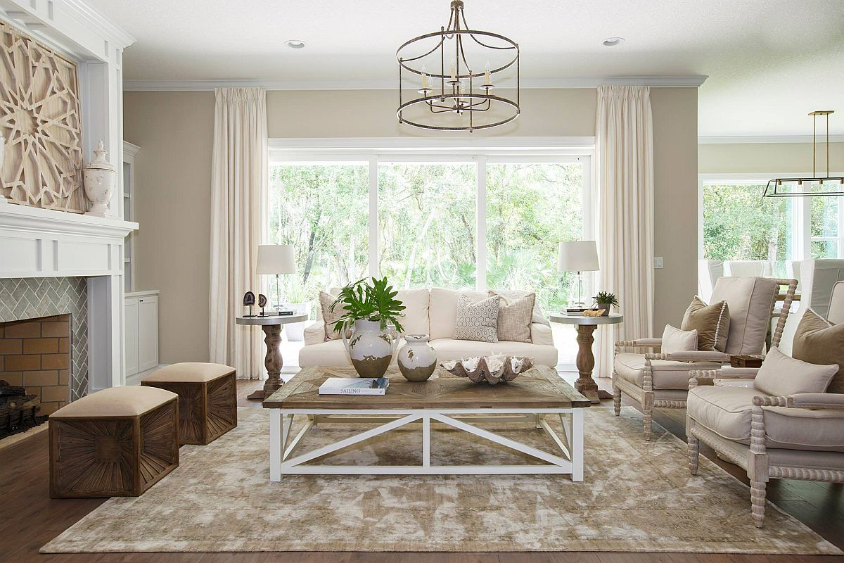 Tone-on-tone approach to decorating with beige in the spacious living room