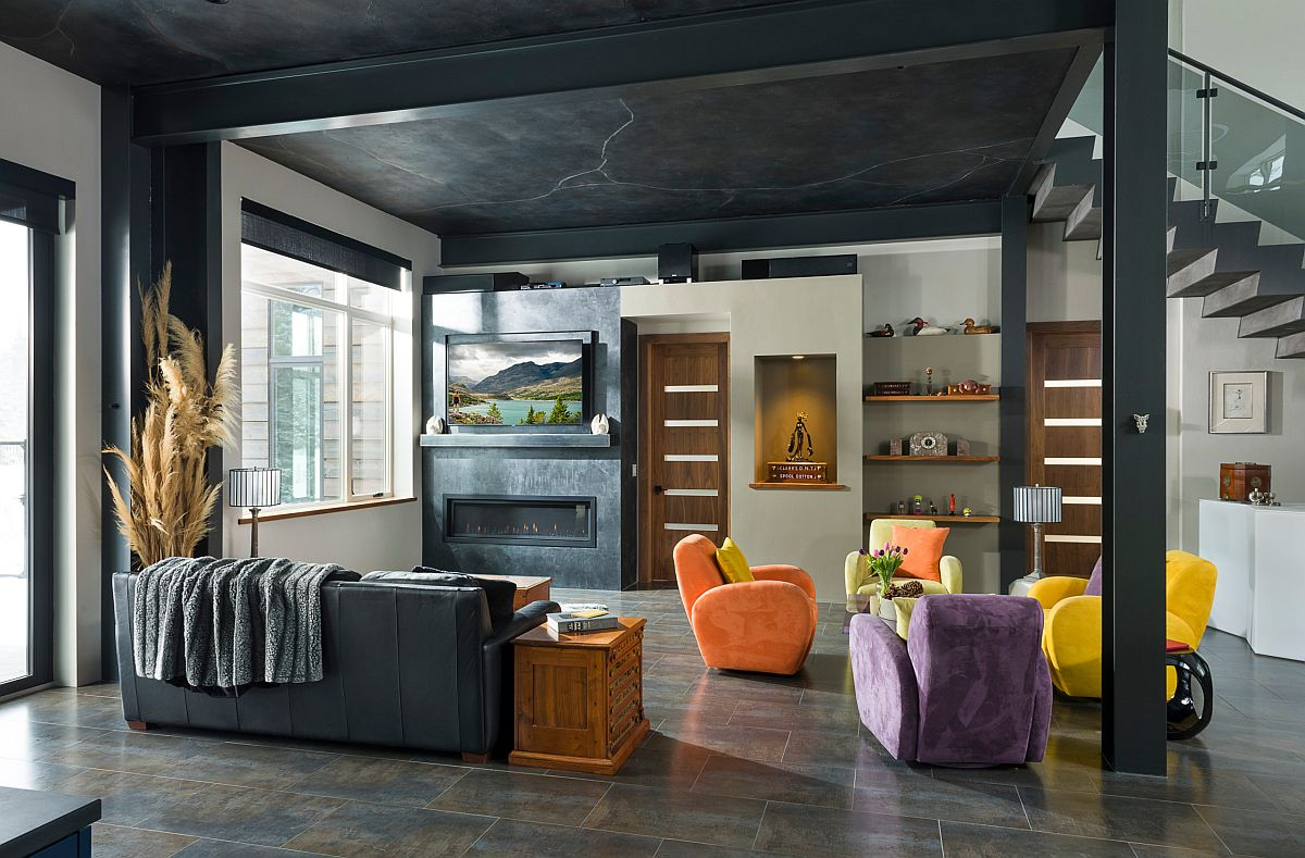 Use the ceiling to usher in a bit of black into the contemporary living room