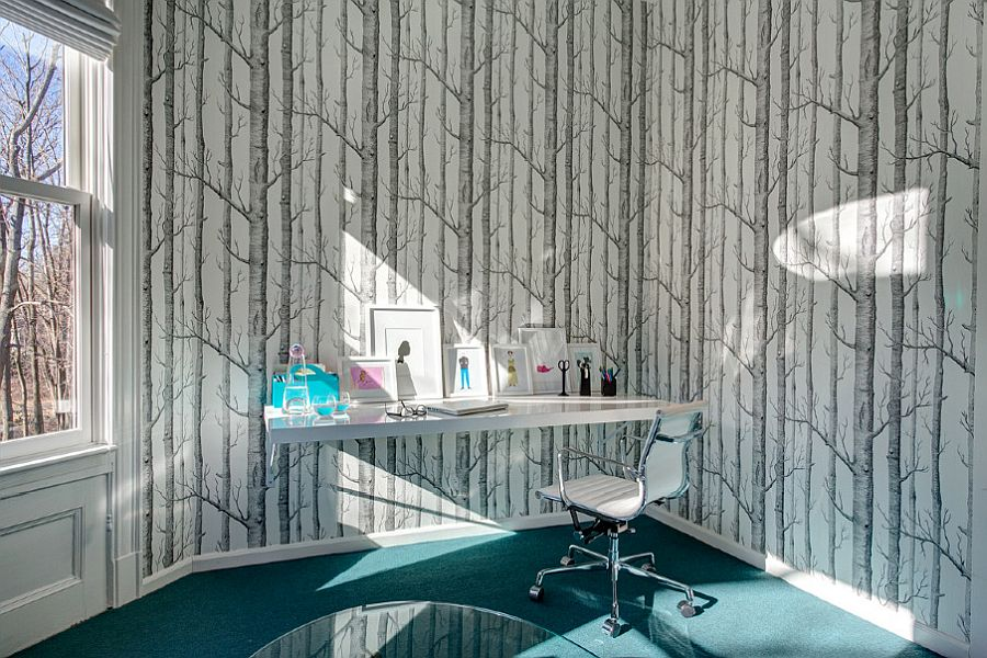 Wallpaper brings pattern to this chic home office without altering it color scheme