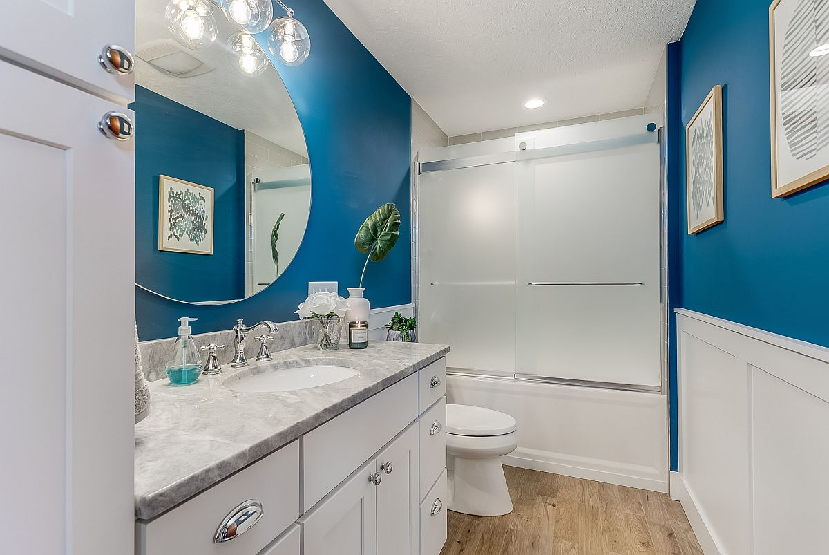 Walls add blue to the bathroom without going over the top