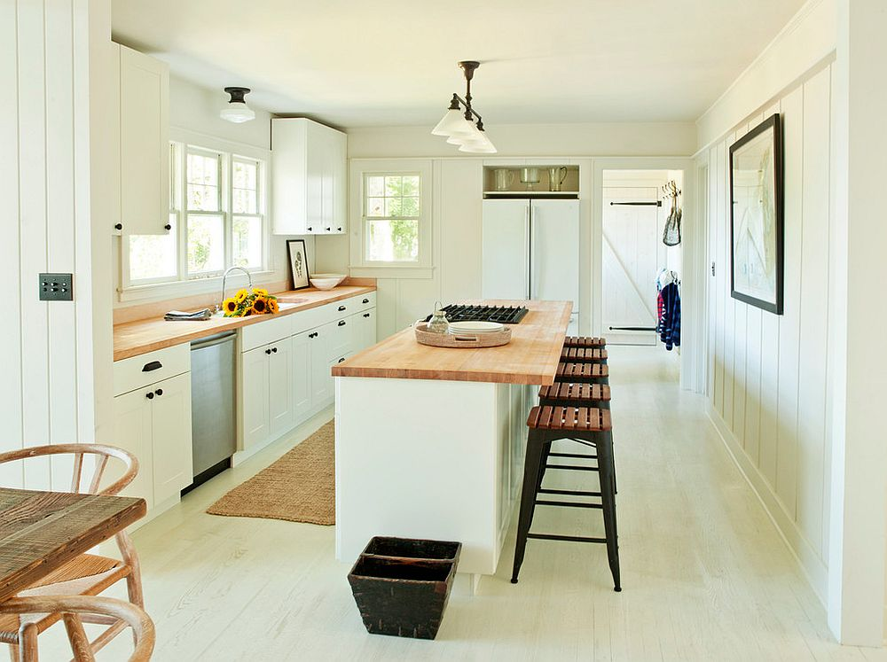 White and wood kitchen offers a color palette that is both relaxing and bright