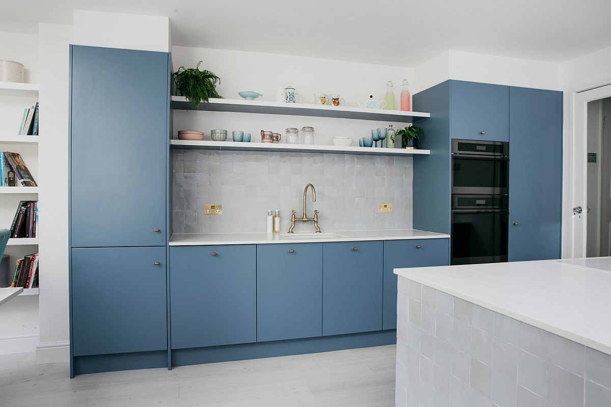 White combined with light blue in the kitchen with modern style and lovely lighting