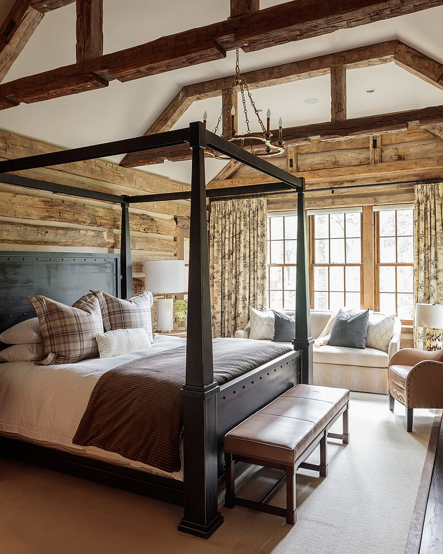 Wood adds pattern to this beautiful modern rustic bedroom without even trying!