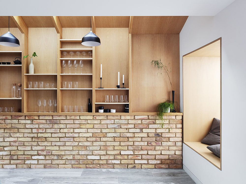 Wood and brick inteior of the house combines some of the older house features with modernity