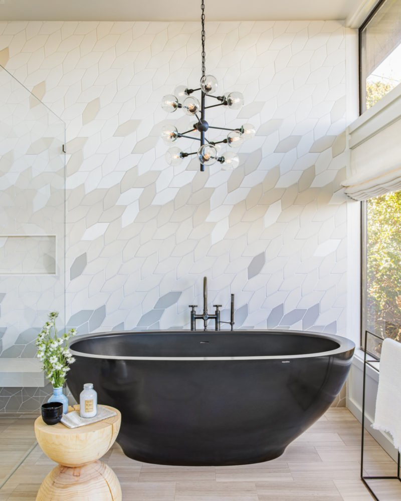 Blended bathroom wall tiles from Fireclay Tile