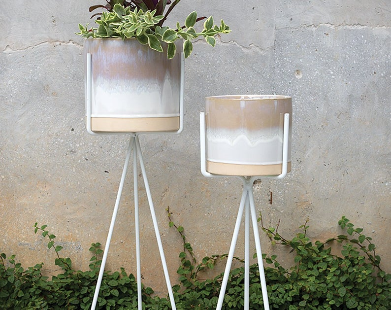 Ceramic and metal plant stands from Etsy shop Bohemia Goods