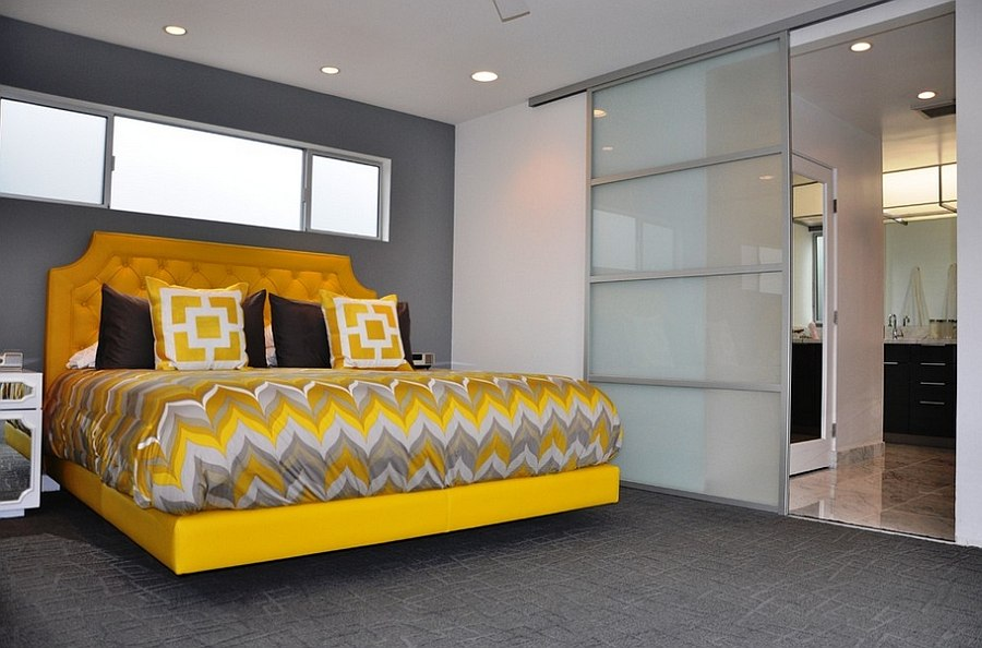 Charming-and-stylish-bedframe-in-yellow-grabs-your-attention-in-this-mdoern-gray-bedroom-87902