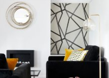 Dark sofa and club chairs coupled with yellow accents and side table in the living room 31586 217x155 - Black, White and Brilliant Pops of Yellow Revitalize Old Epsom Apartment