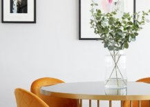 Decorating the modern dining room with lovely framed art work 21282 217x155 - Black, White and Brilliant Pops of Yellow Revitalize Old Epsom Apartment