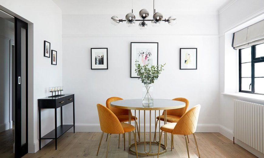 Black, White and Brilliant Pops of Yellow Revitalize Old Epsom Apartment