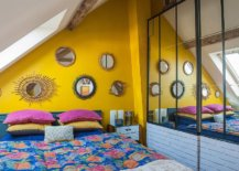 Delightful-small-Mediterranean-bedroom-in-the-attic-with-an-accent-yellow-wall-and-blue-bedding-13602-217x155