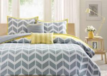 Fabulous-gray-and-yellow-bediing-with-chevron-design-brings-both-color-and-pattern-to-this-bedroom-in-white-48392-217x155
