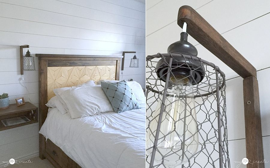 Farmhouse and industrial styles come together with thi bedside sconce design
