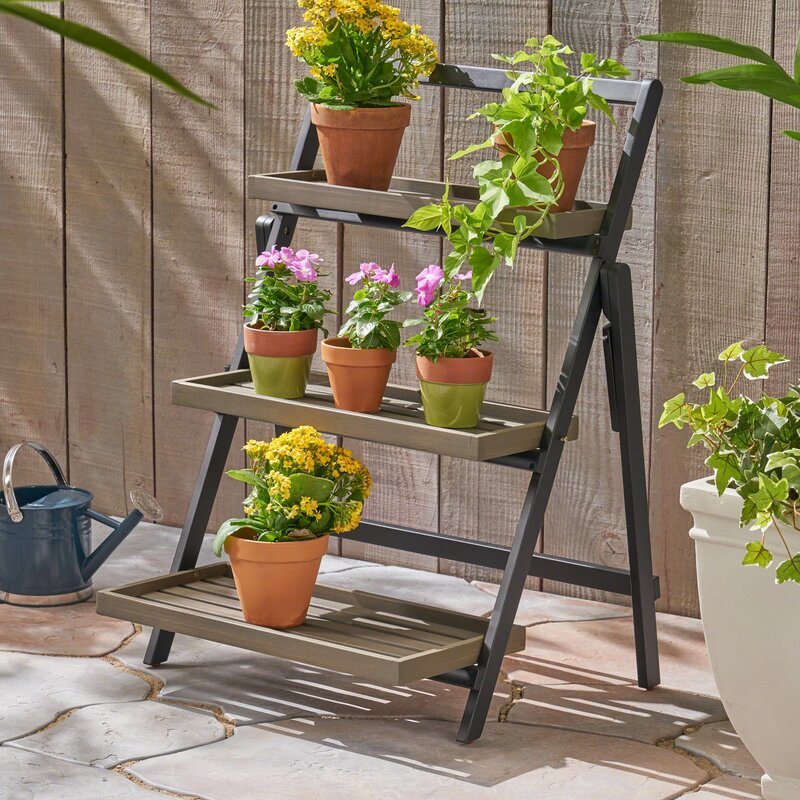 Folding-plant-stand-with-wooden-shelves-13158