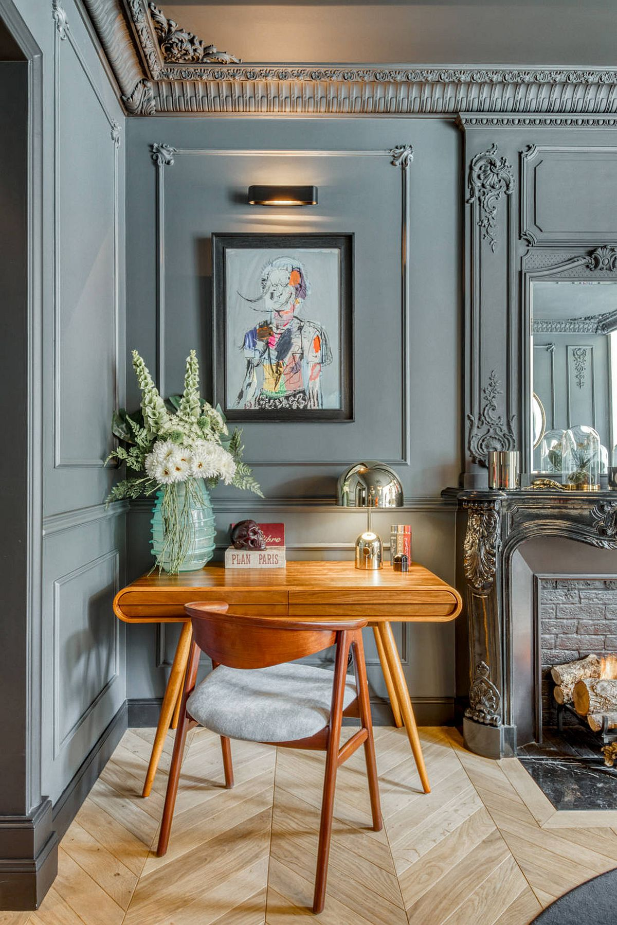Gorgeous and space-savvy home office in gray where the ornate walls make the biggest impact