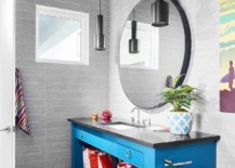 Gray-powder-room-with-wallpaper-clad-ceiling-and-a-bright-blue-vanity-that-steals-the-show-87680-217x155