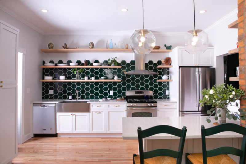 Green hexagonal kitchen backsplash