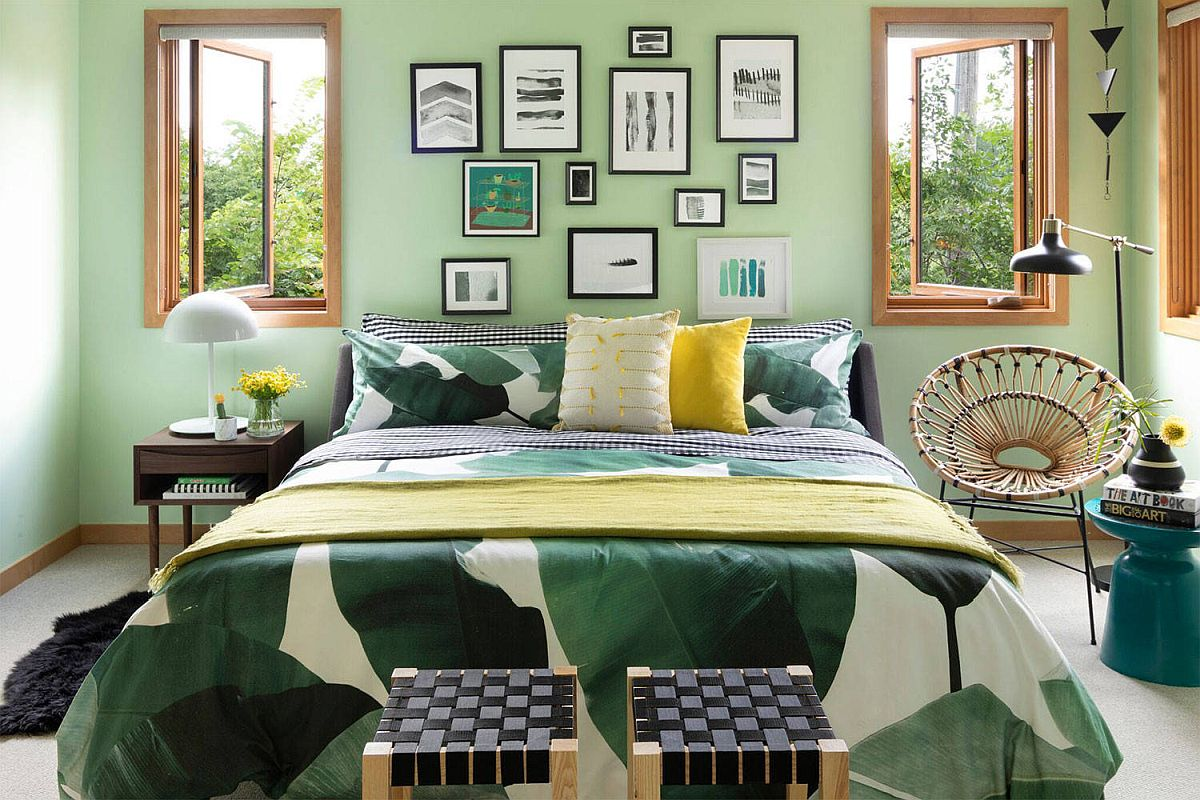 Green makes plenty of impact in this colorful and eclectic bedroom