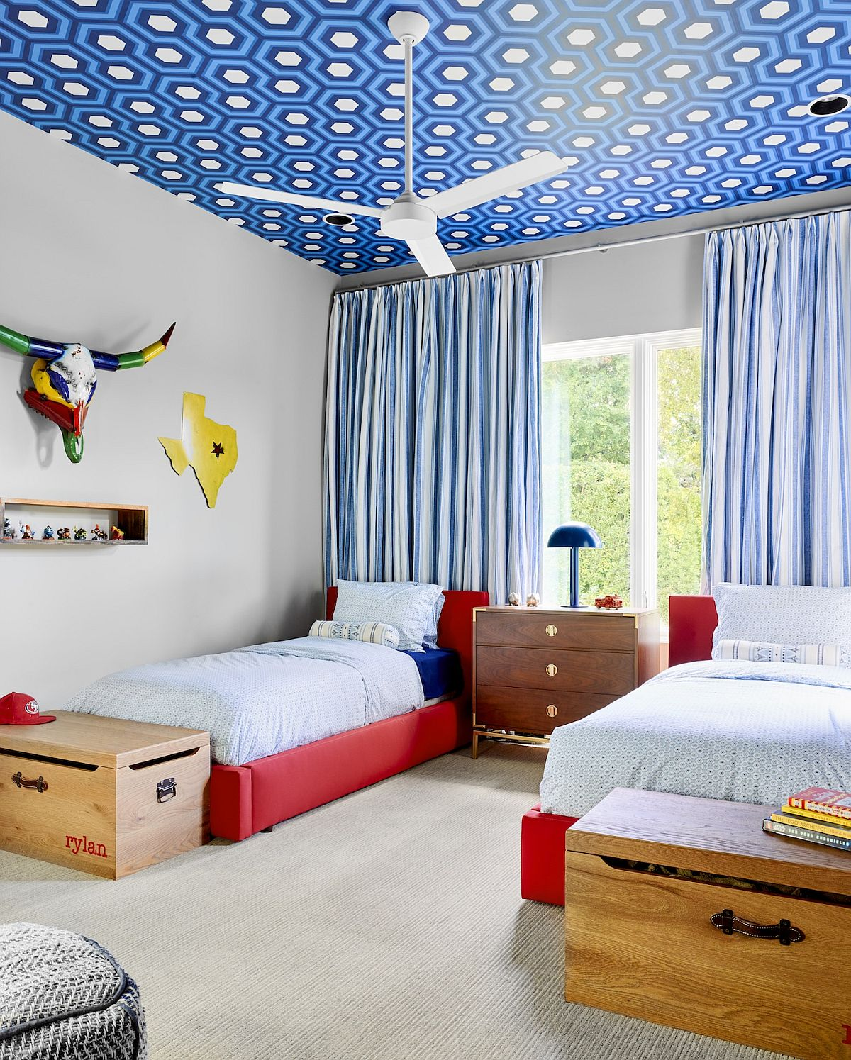 Hicks wallpaper for the ceiling brings brightness to the fabulous contemporary kids' bedroom with red bedframe
