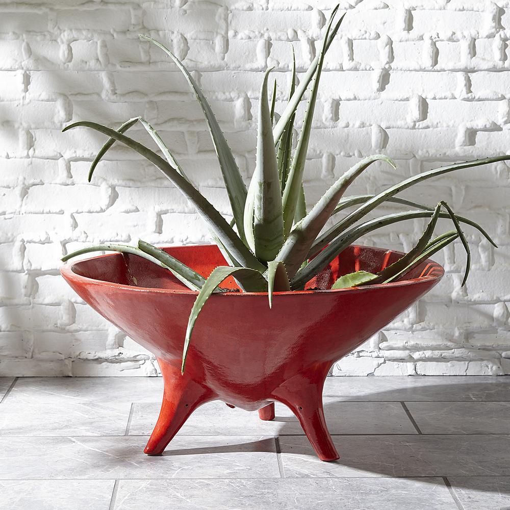 Jonathan Adler red stoneware planter