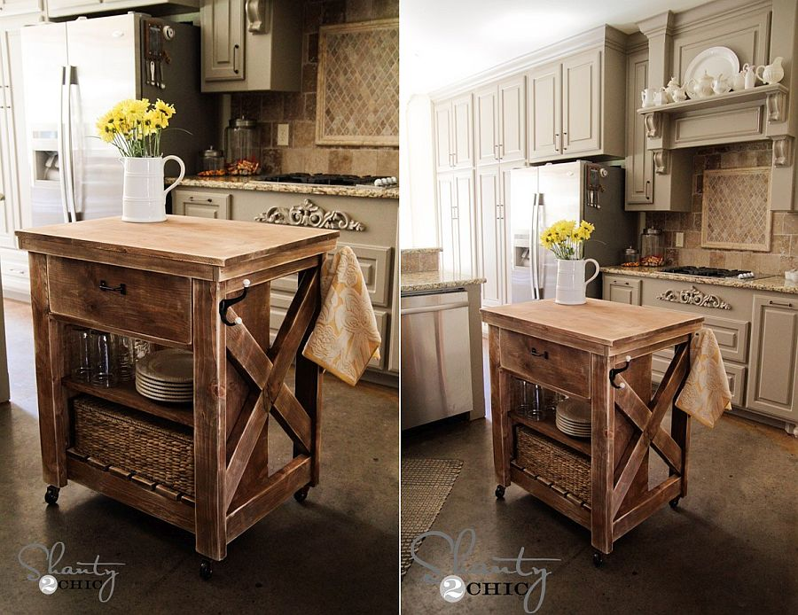 Kitchen island on wheels from Shanty 2 Chic is perfect for the industrial-farmhouse style kitchen