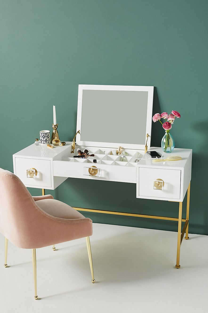 Lacquered white vanity from Anthropologie