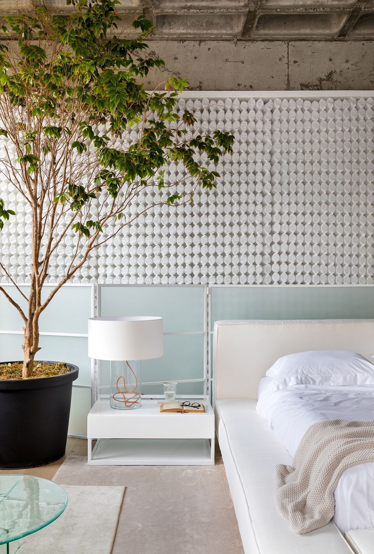 Large-indoor-pant-brings-visual-contrast-to-a-bedroom-in-white-and-muted-colors-61518