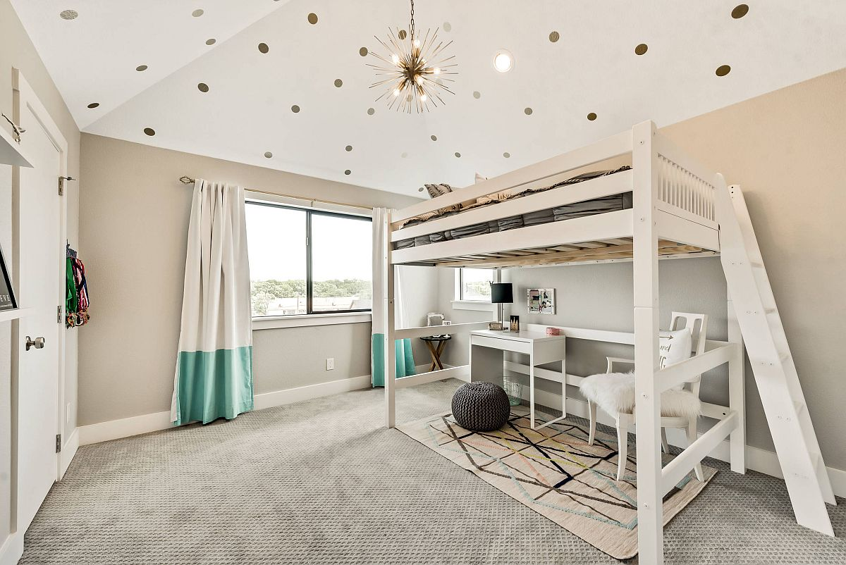 Lovely use wallpapered ceiling in the girls' room with a gorgeousloft bed