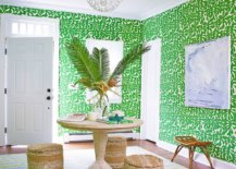 Lovely-wallpaper-in-green-adds-color-to-the-entryway-along-with-beautiful-striped-rug-82522-217x155