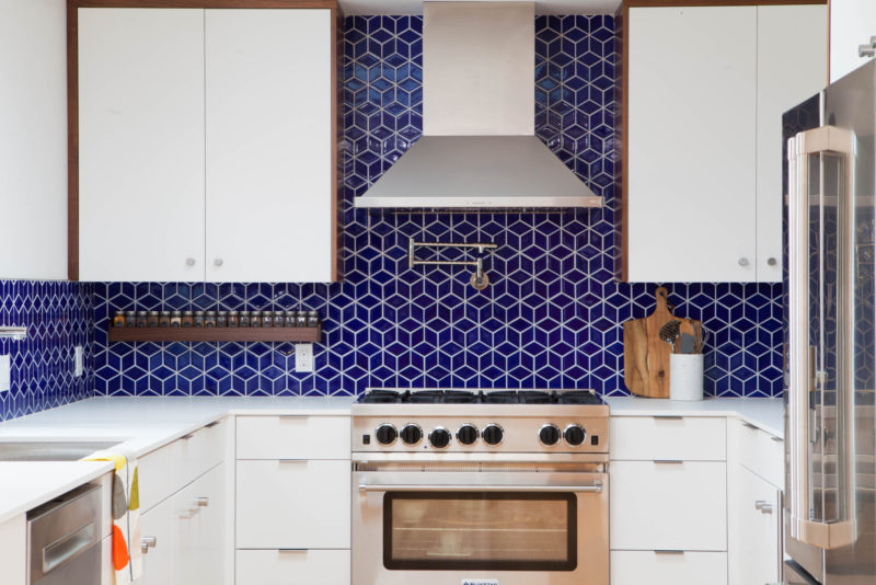 Midcentury modern royal blue tile backsplash