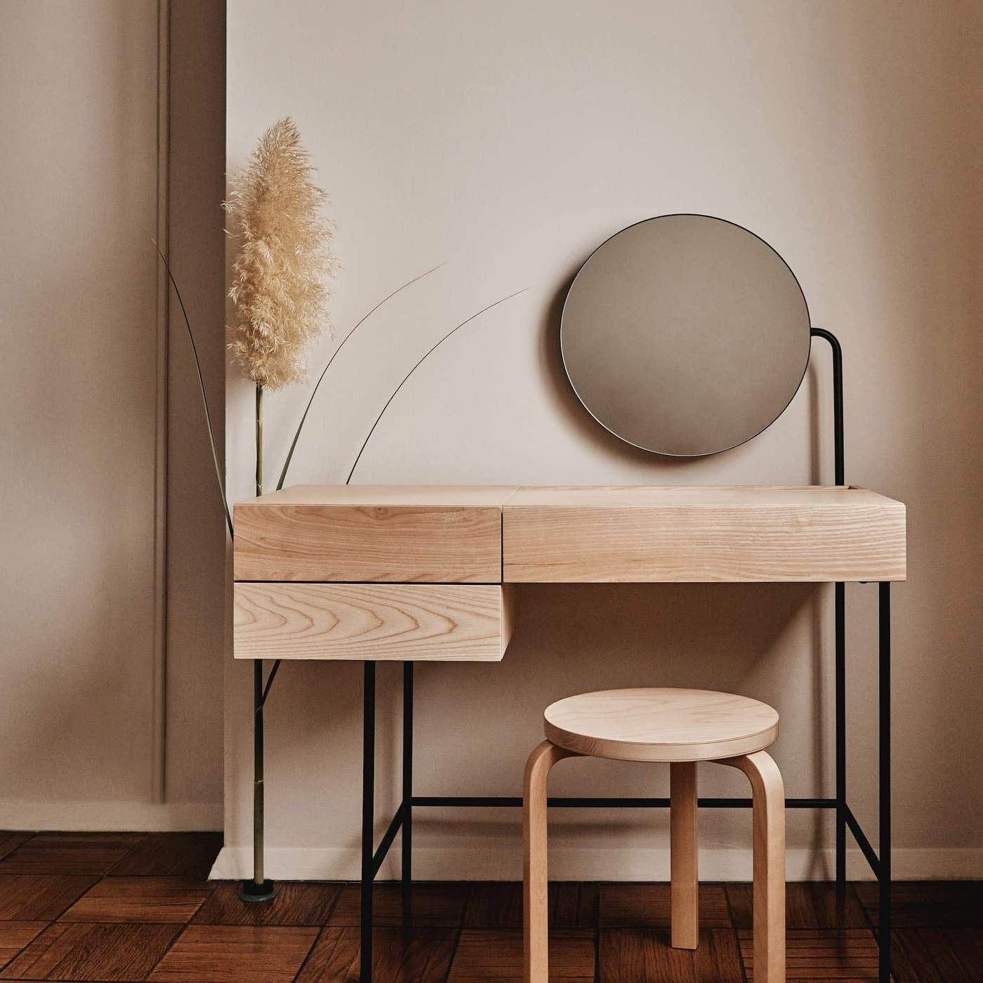 Minimalist vanity in natural wood