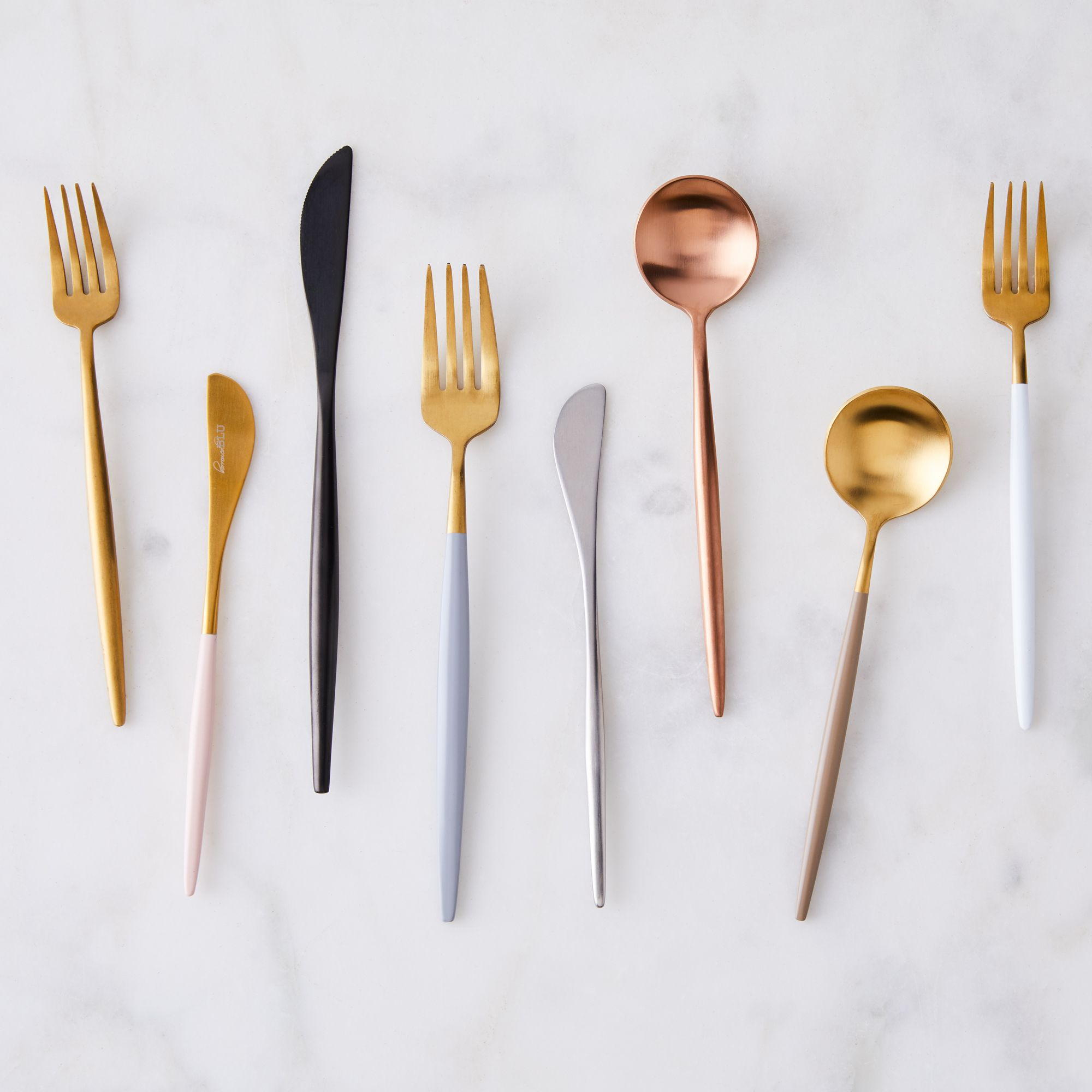 Modern flatware with a pointed handle