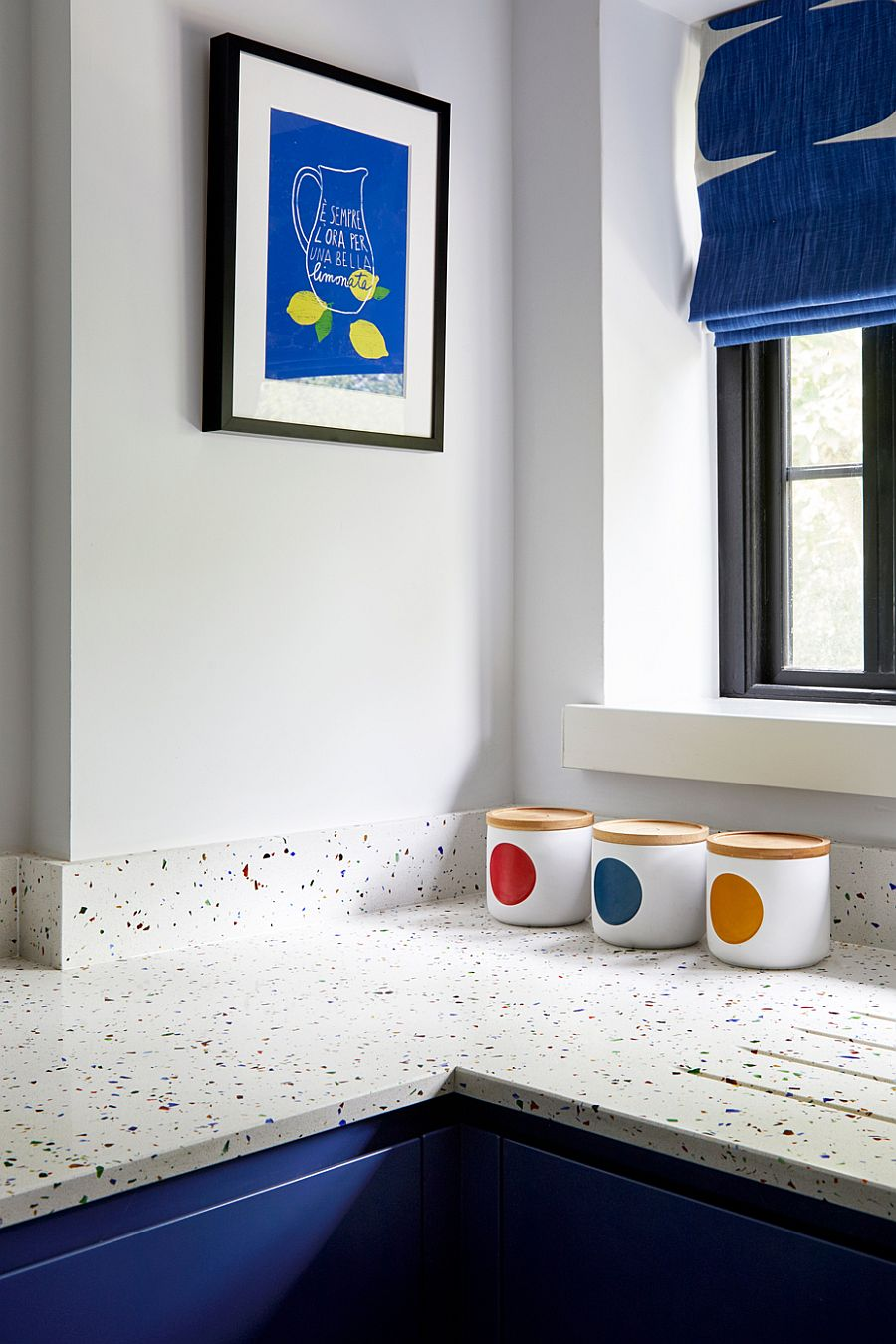 Quirky kitchen countertop with a mosaic pattern and a dash of color 55893 - Black, White and Brilliant Pops of Yellow Revitalize Old Epsom Apartment