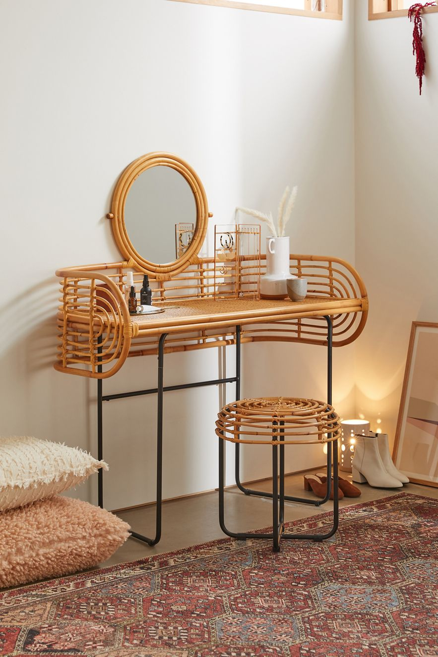Rattan vanity table with a built-in mirror