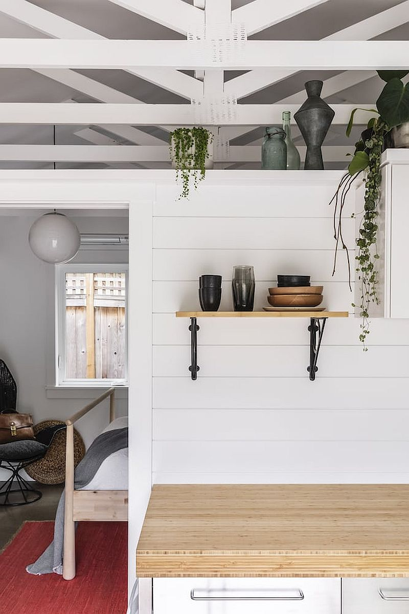 Revamped garage shed interior makes for a great, space-savvy vacation home