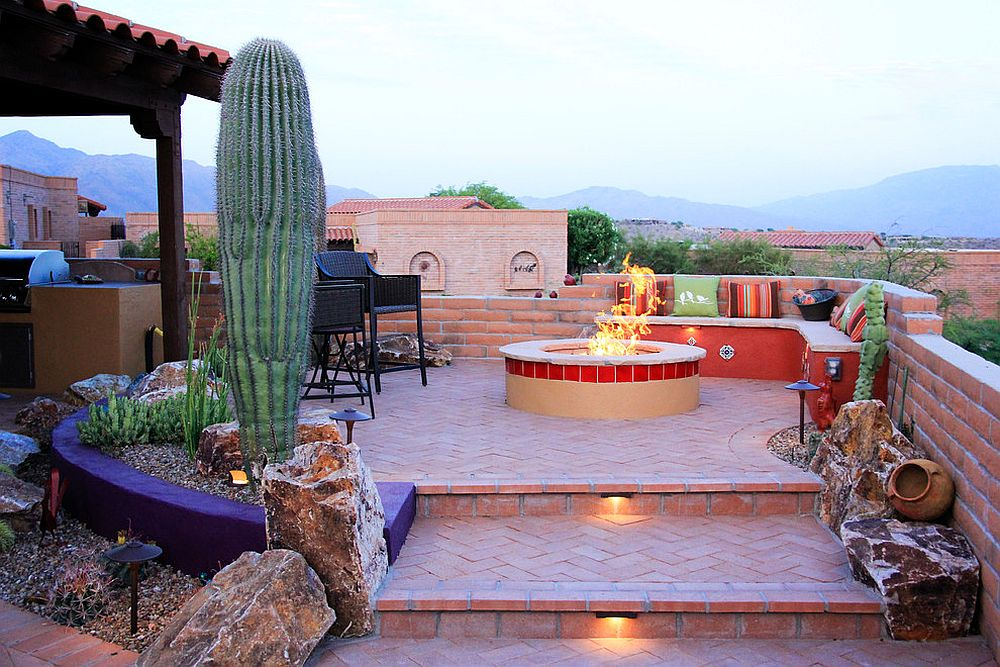 Rooftop hangout with firepit, grill and ample sitting space with Tuscan style