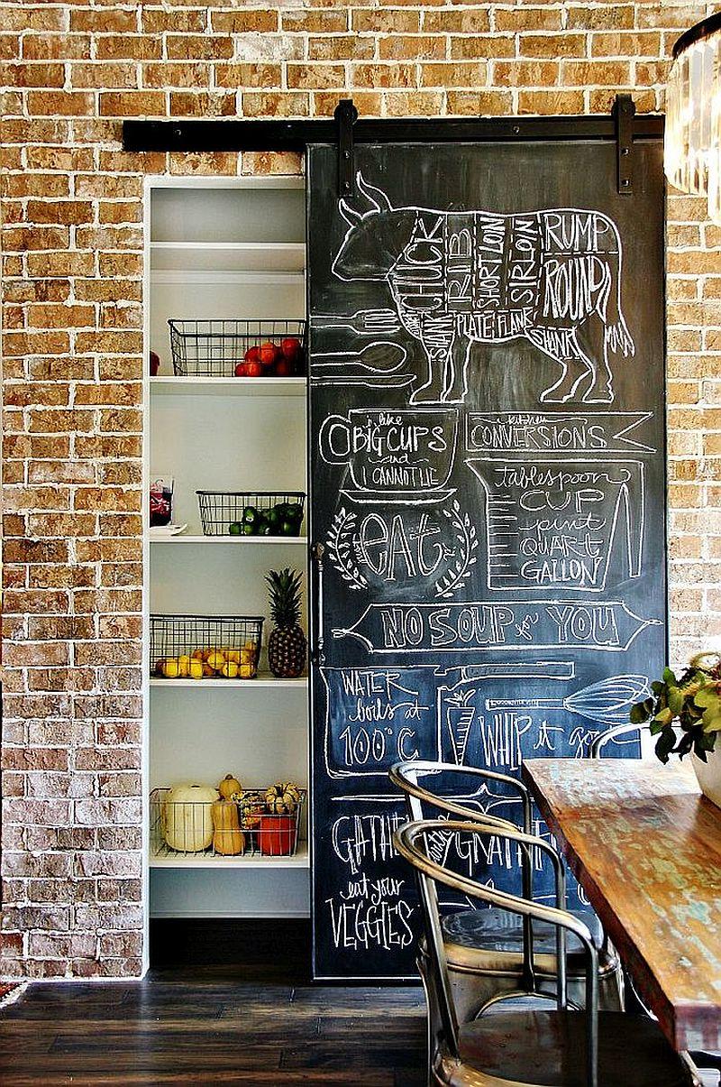 Sliding chalkboard door can replace your mdoern door in the industrial-farmhouse space
