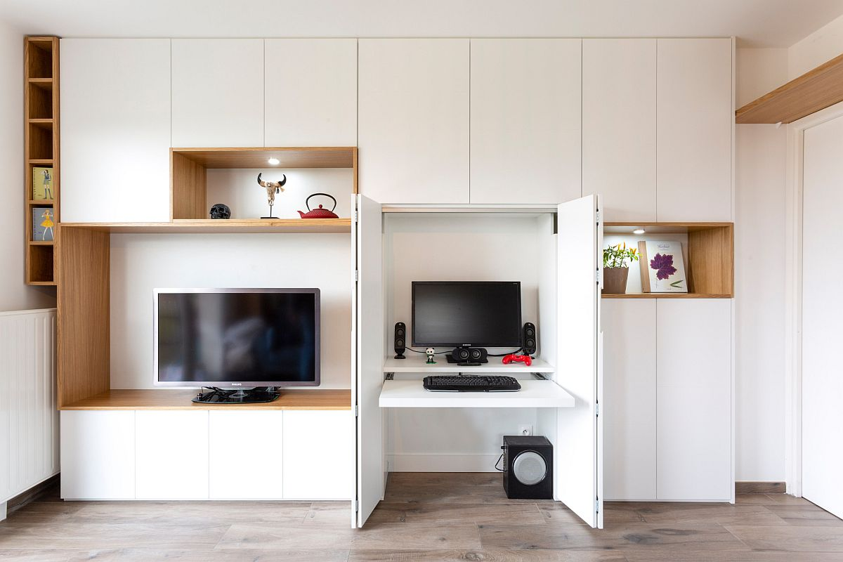 Smart design of the home office allows it to dissappear into the backdrop when not in use