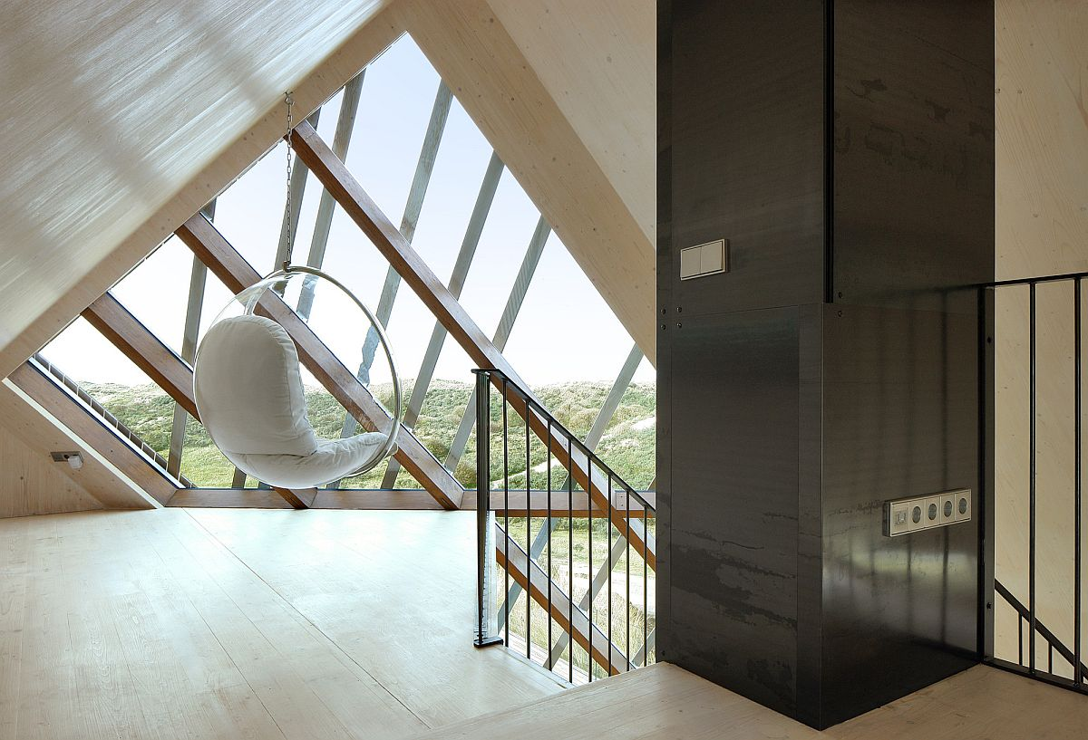 Spacious upper level of the Dune House with mesmerizing views of the North Sea in the distance