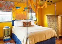 Textured-yellow-ceiling-steals-the-show-in-this-eclectic-edroom-with-a-bit-of-blue-as-well-79771-217x155