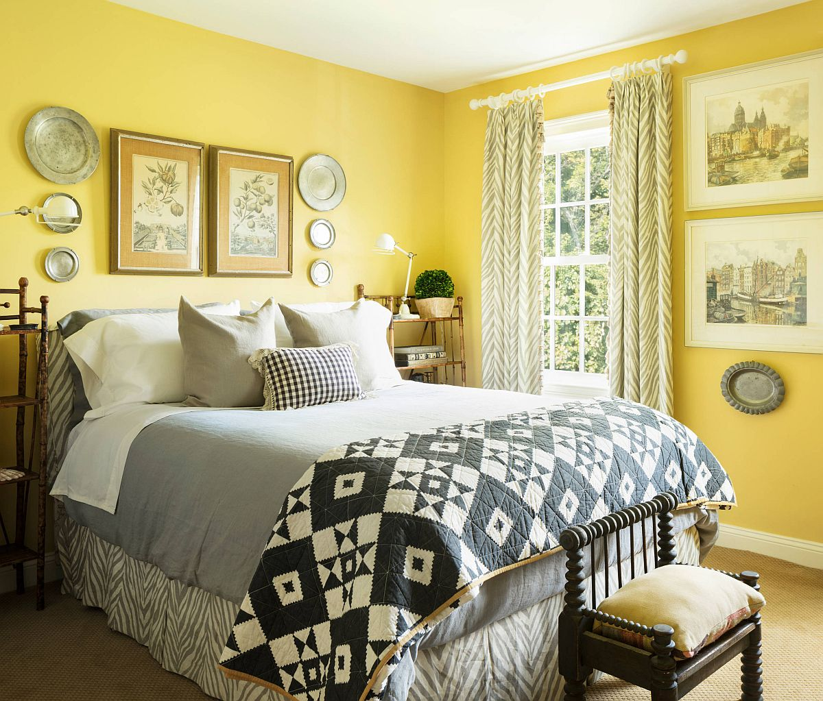 Traditional-bedroom-with-gray-and-yellow-color-scheme-and-ample-naural-light-69074