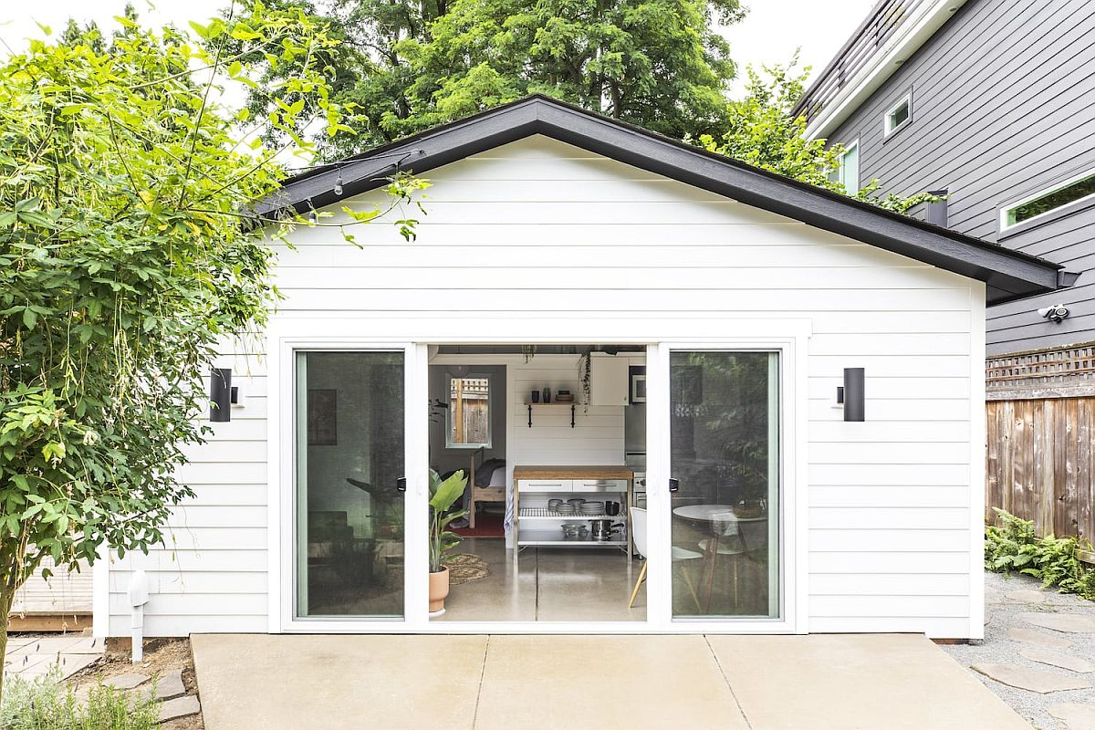 Tuff Shed Garage in Portland turned into a lovely little vacation home