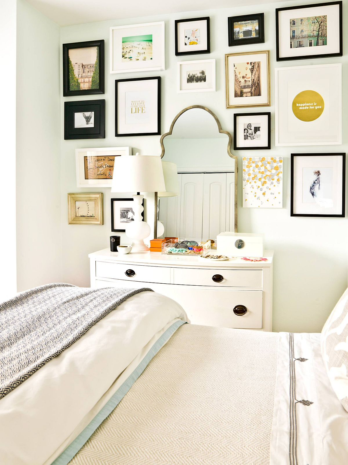 Using the space around the dressing mirror in the bedroom for a lovely gallery wall