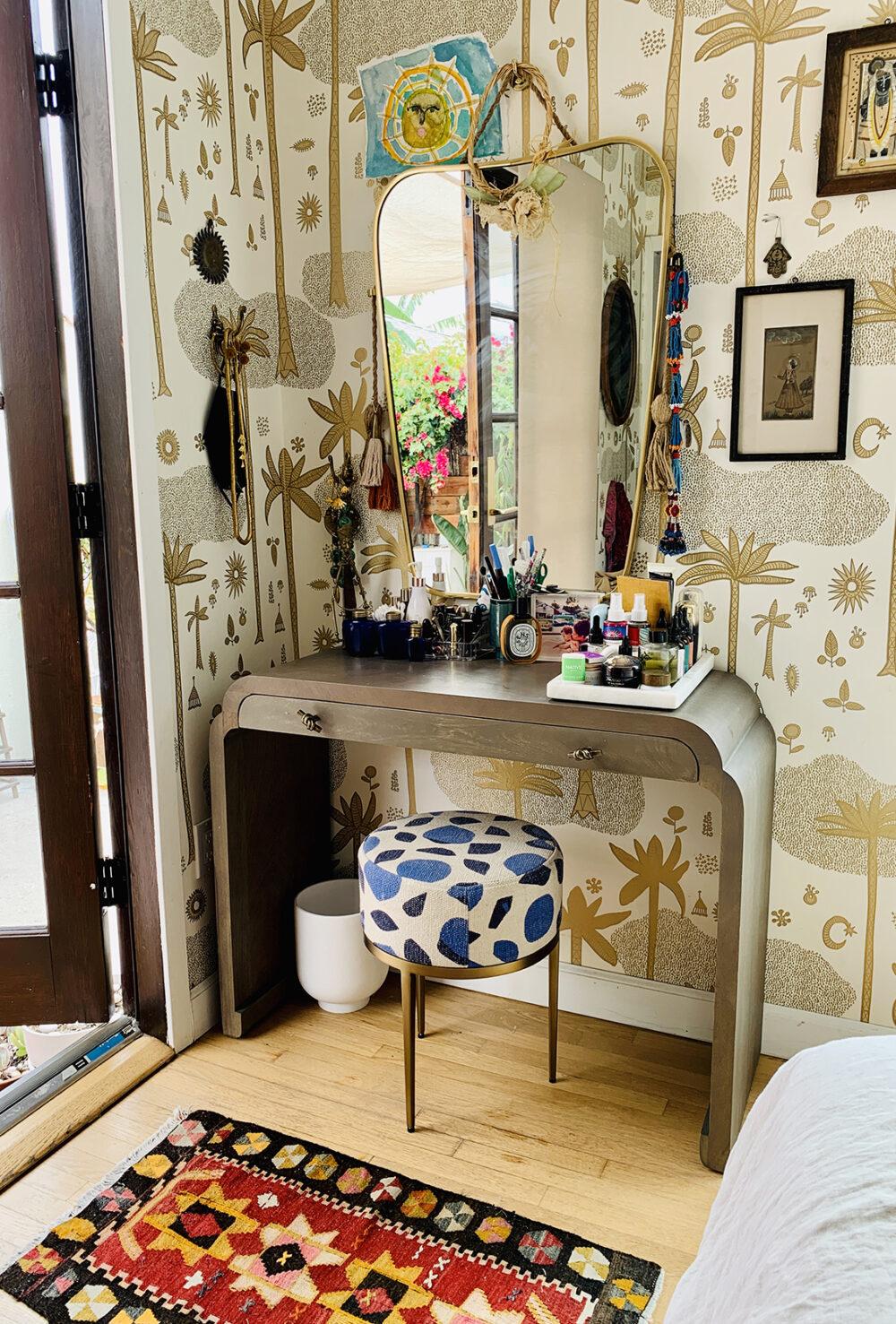 Vanity area styled by Justina Blakeney