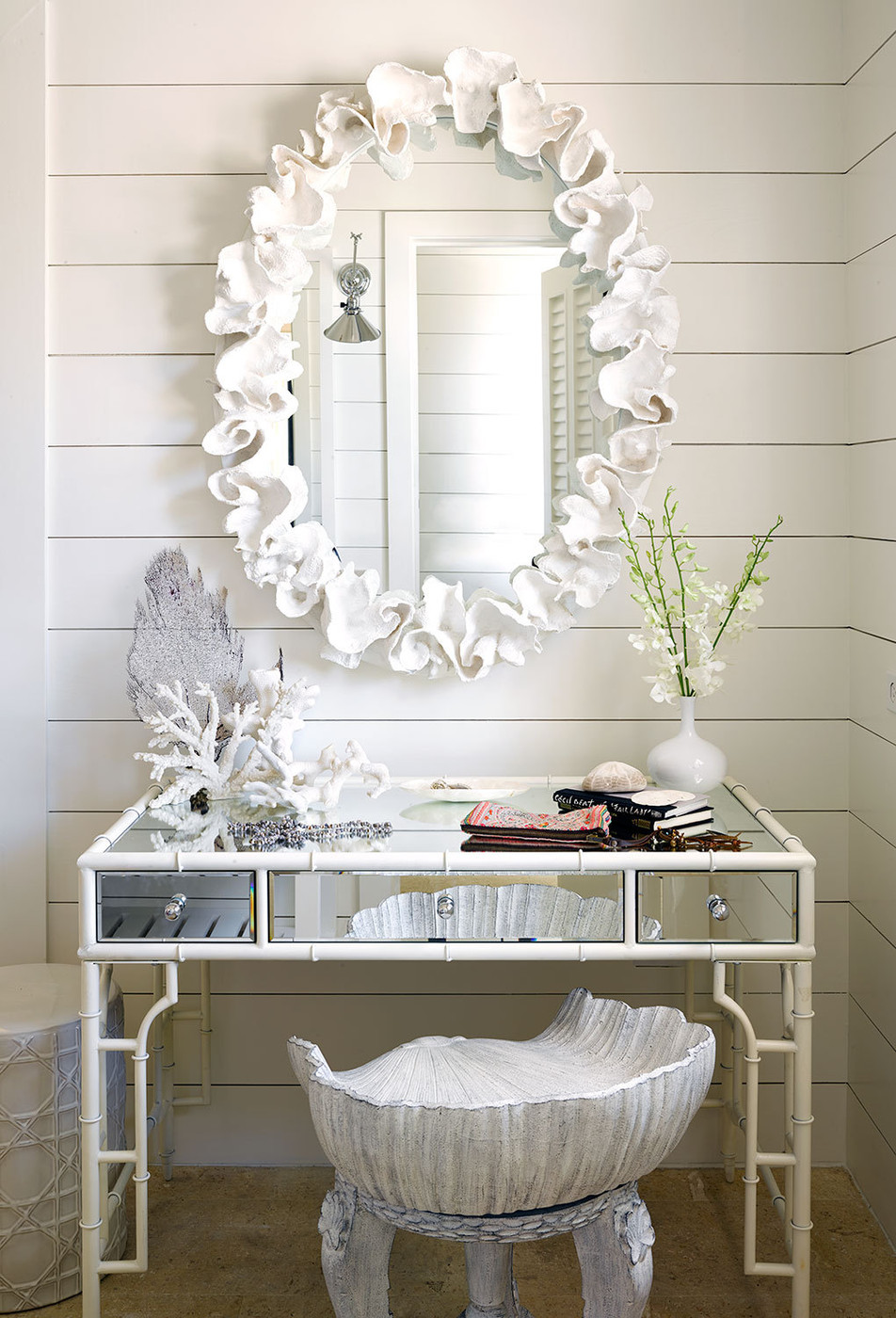 Vanity table area with a coral motif