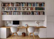 White-home-office-of-Paris-home-with-space-for-two-and-a-lovely-bookshelf-above-88735-217x155