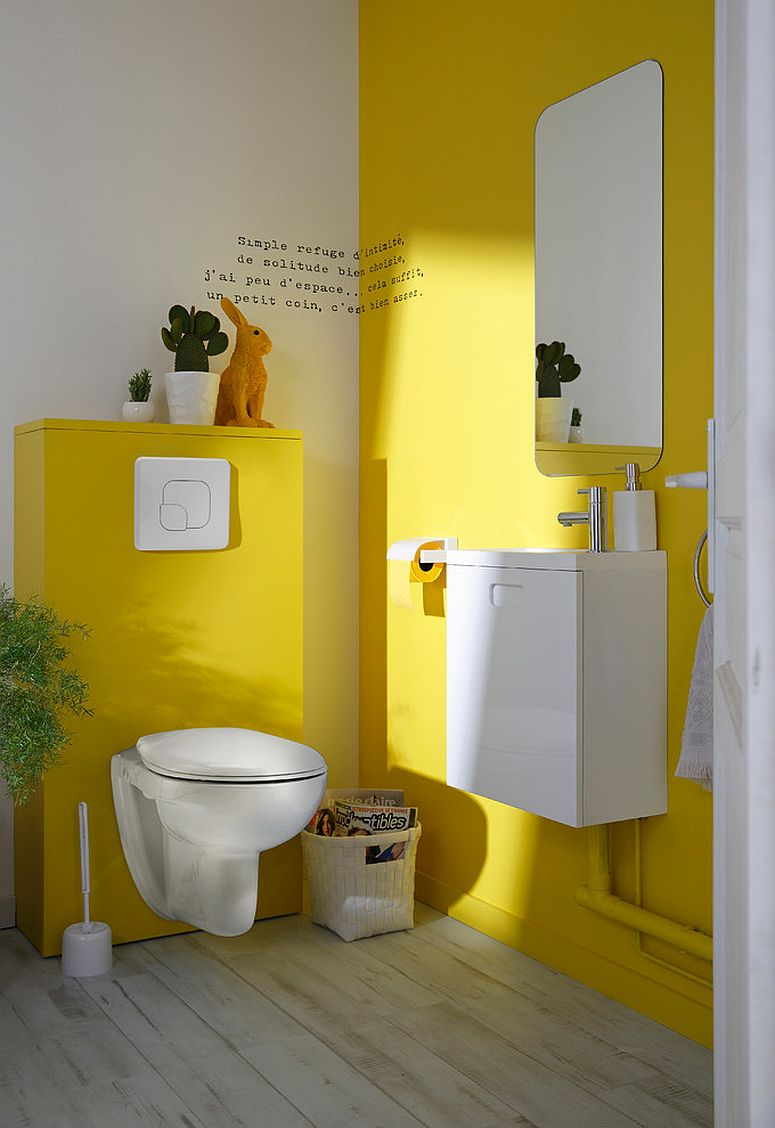Balanced use of yellow in the contemporary powder room
